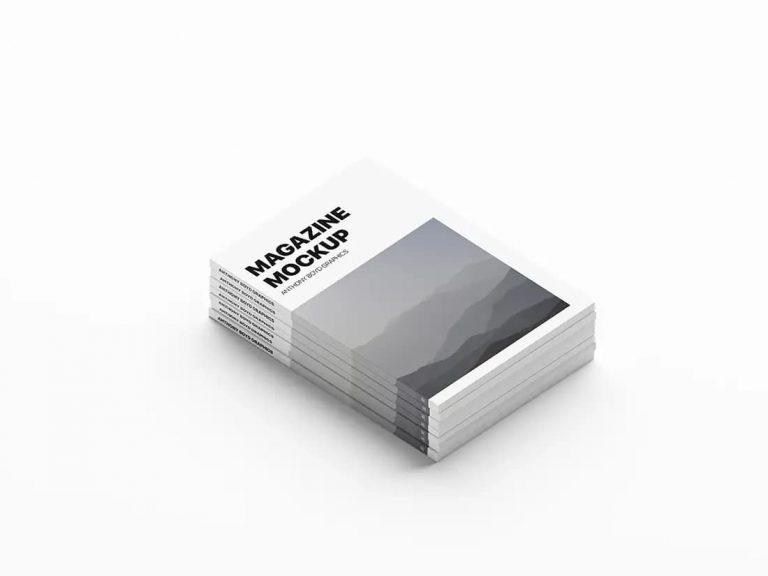 Free Stacked Magazines PSD Mockup