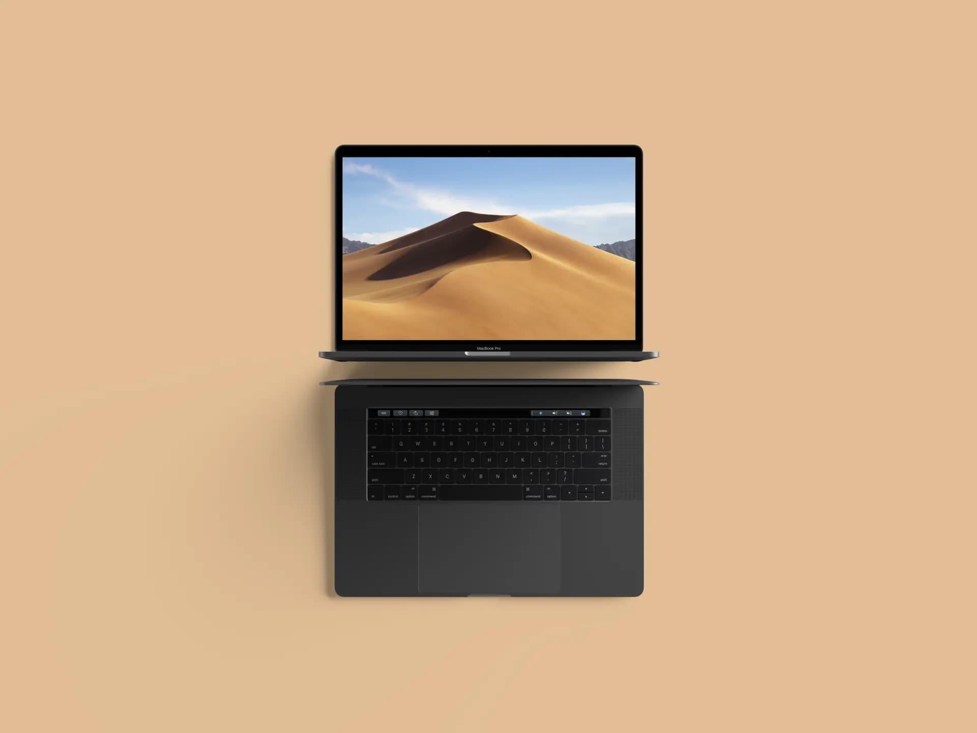 Free Top View MacBook Pro PSD Mockup