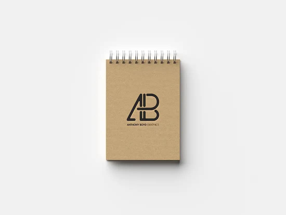 Free Top View Notebook PSD Mockup