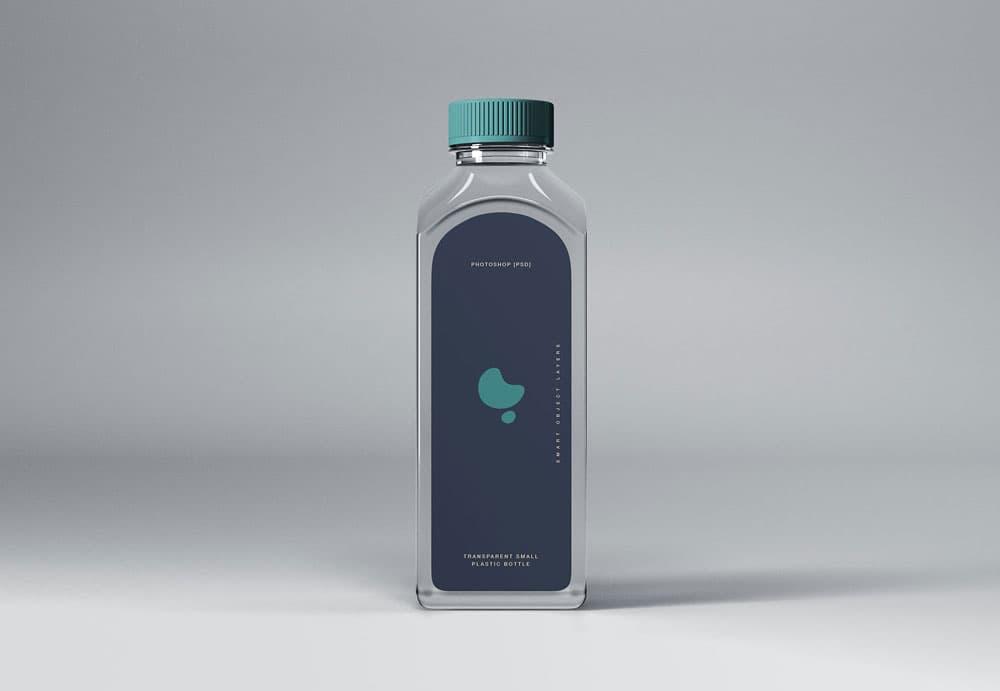 Free Transparent Small Plastic Bottle PSD Mockup