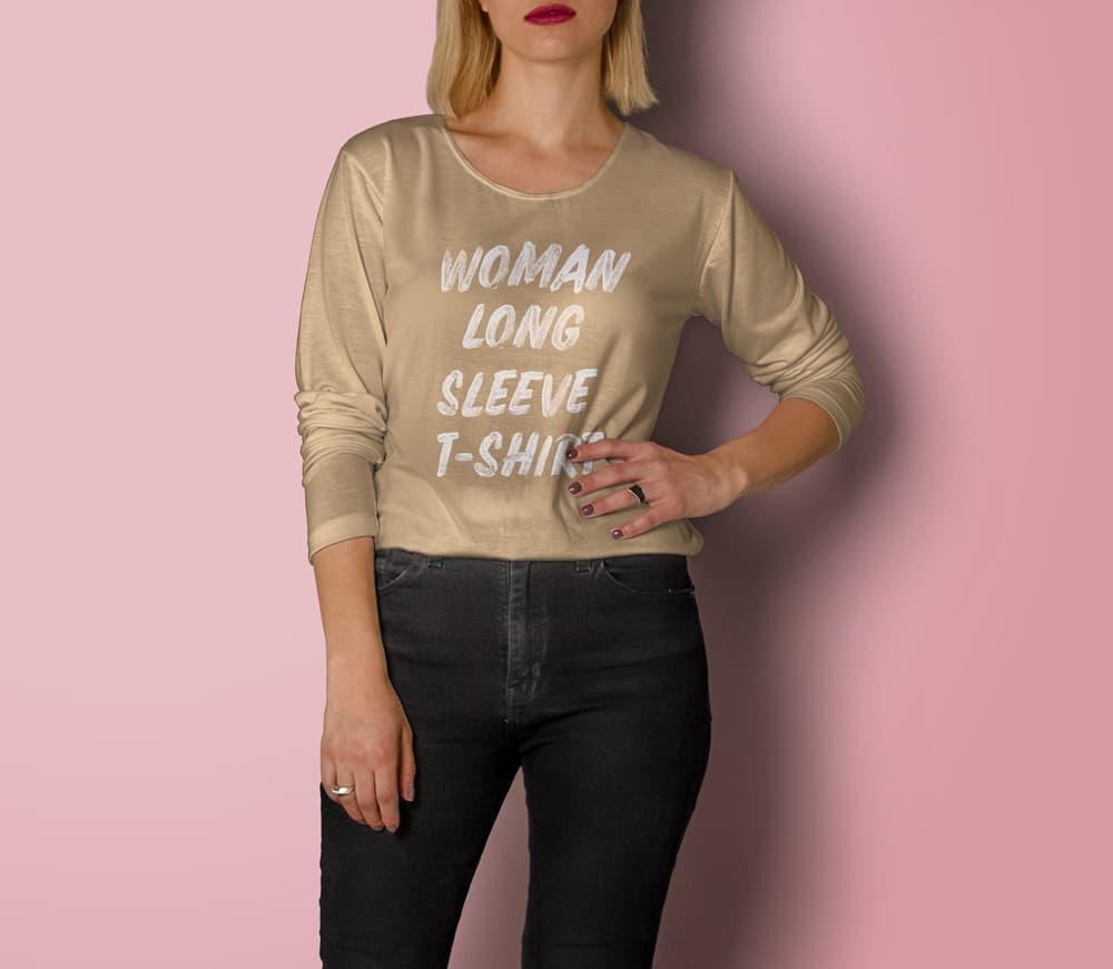 Free Woman Long Sleeve Shirt PSD Mockups