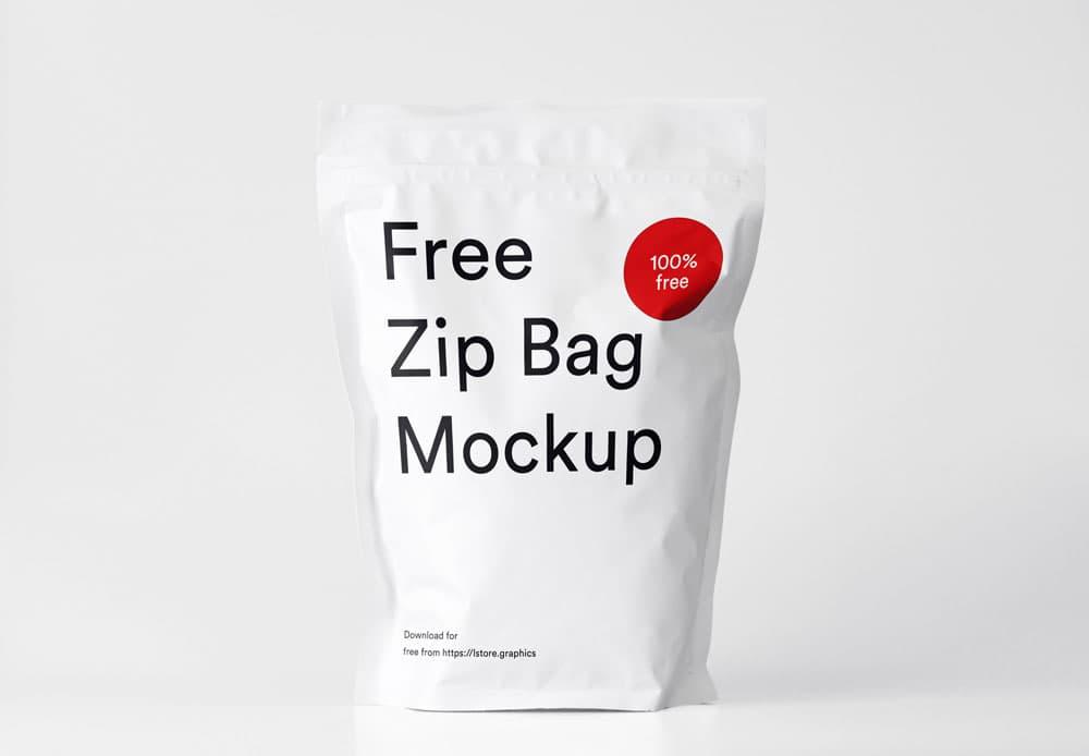 Free Zip Bag Packaging PSD Mockup