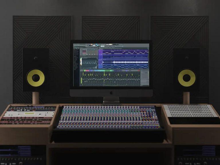 Free iMac Pro In Music Studio PSD Mockup