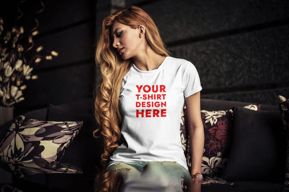 Young Woman Free T-Shirt PSD Mockup