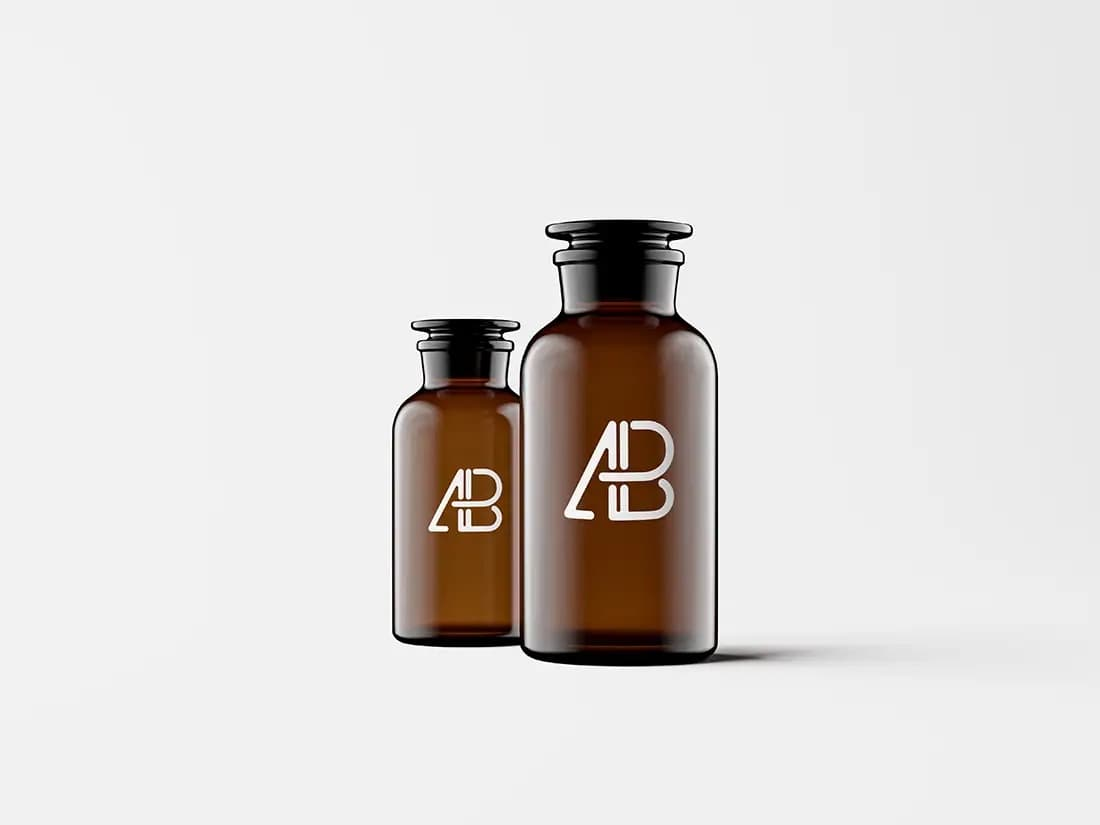 Free Amber Glass Apothecary Jars PSD Mockup