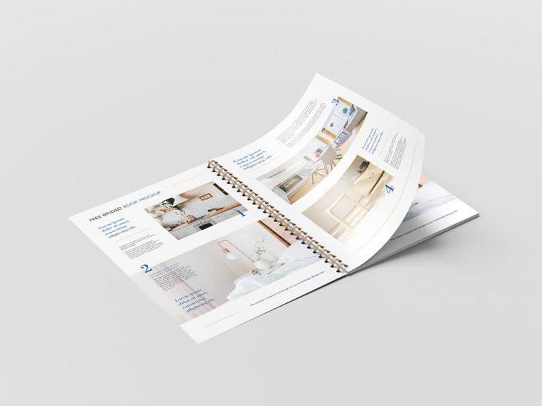 Free Binded Book Brochure PSD Mockups