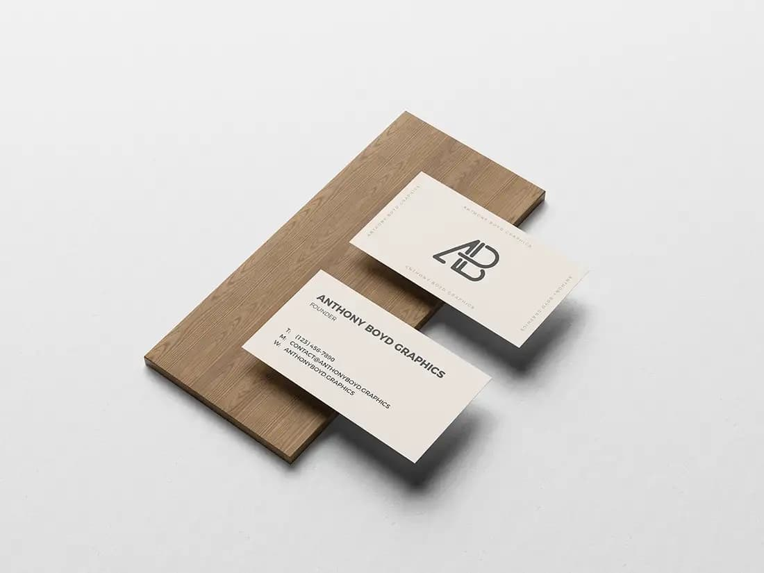 Free Business Card On Board Mockup