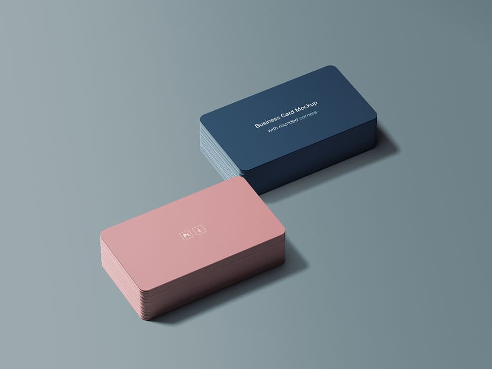 Free Business Card Round with Edges Mockup