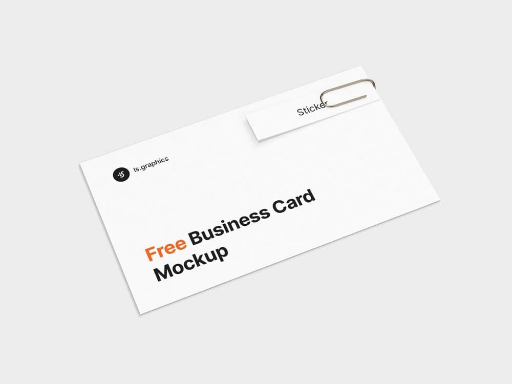 Free Business Card & Sticker PSD Mockup