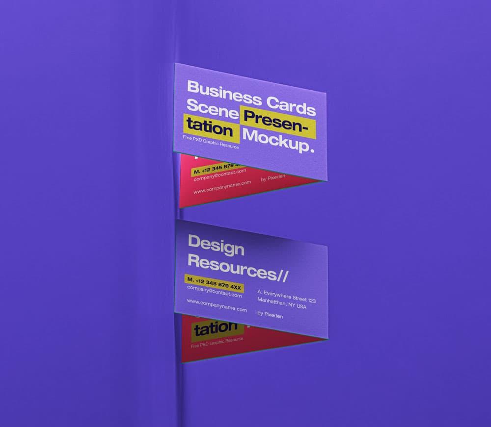 Free Business Cards PSD Mockup Scene