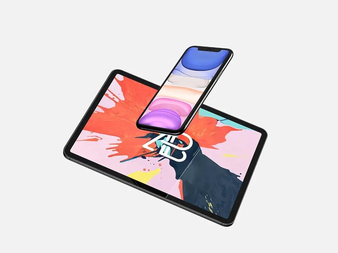 Free Floating iPhone and iPad PSD Mockup