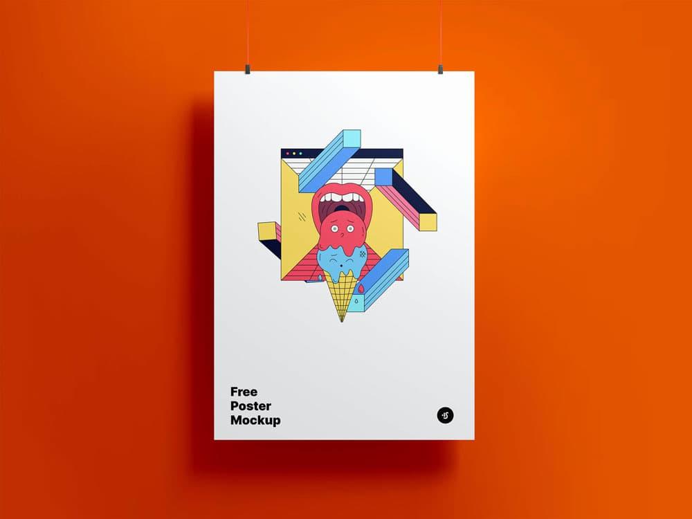 Free Hanging Poster PSD Mockup