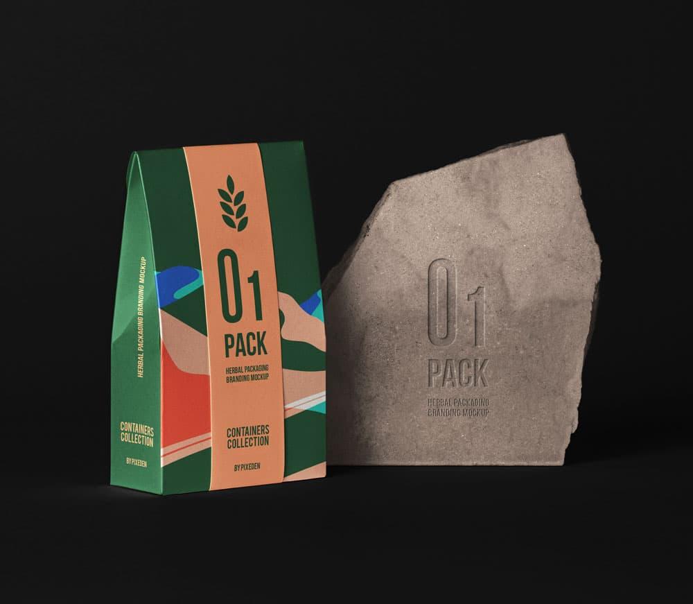 Free Herbal Bag Packaging PSD Mockup