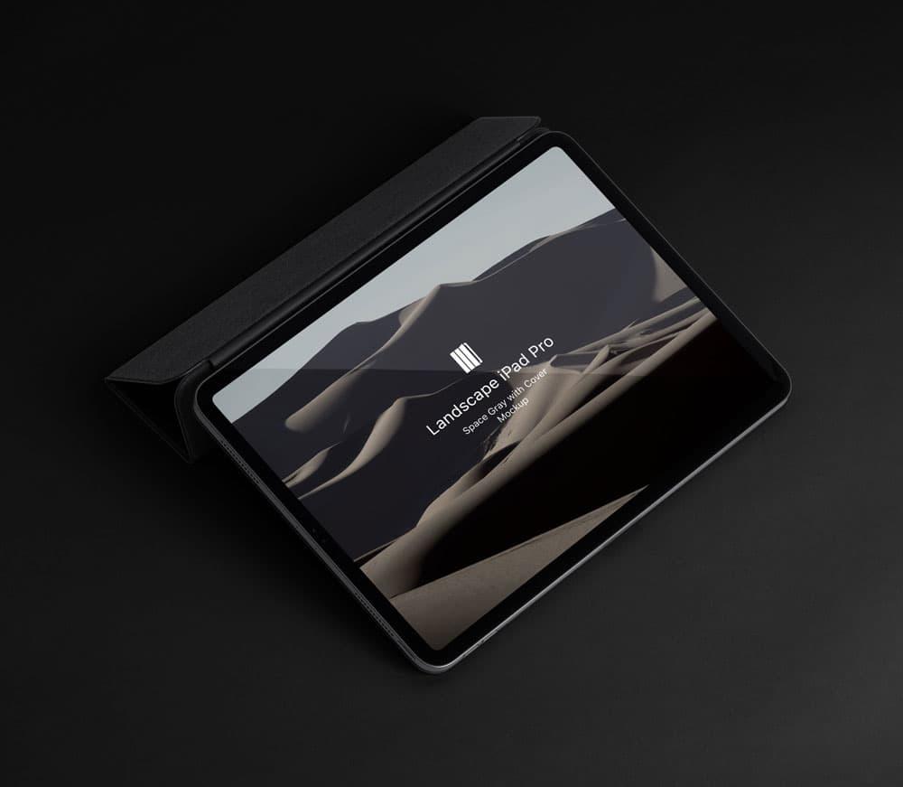 Free Landscape Cover iPad Pro PSD Mockup