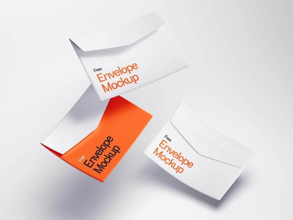 Free Levitating Envelope PSD Mockups