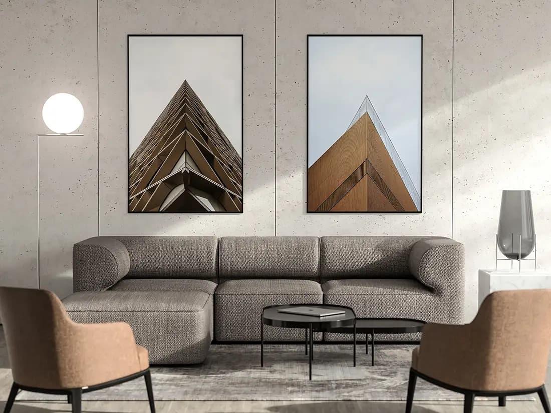 Free Living Room Poster Scene PSD Mockup