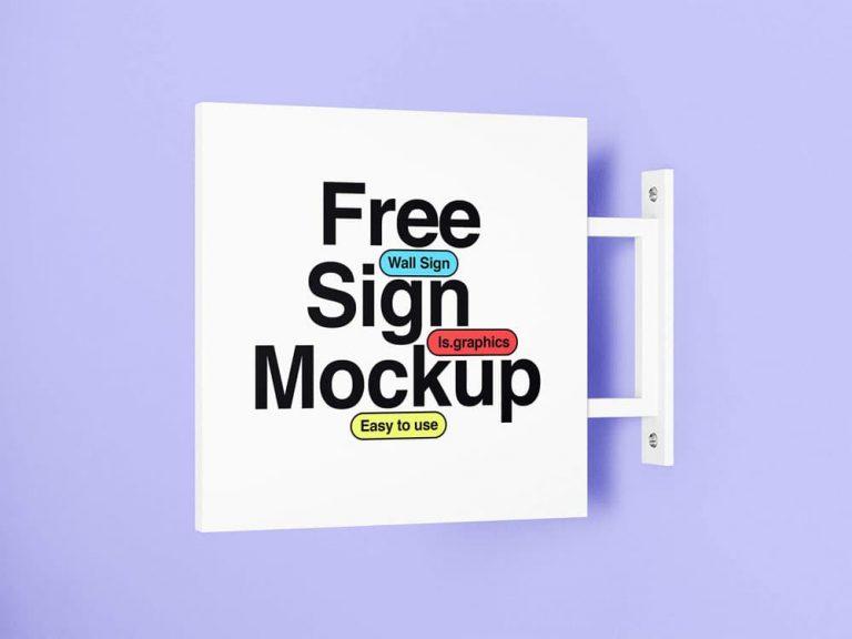Free Minimalistic Wall Sign PSD Mockup