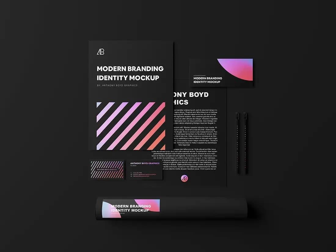Free Modern Branding Identity PSD Mockup