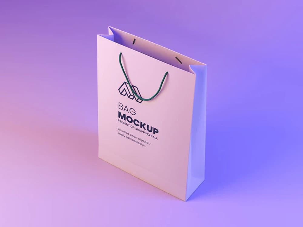 Free Modern Paper Bag PSD Mockup