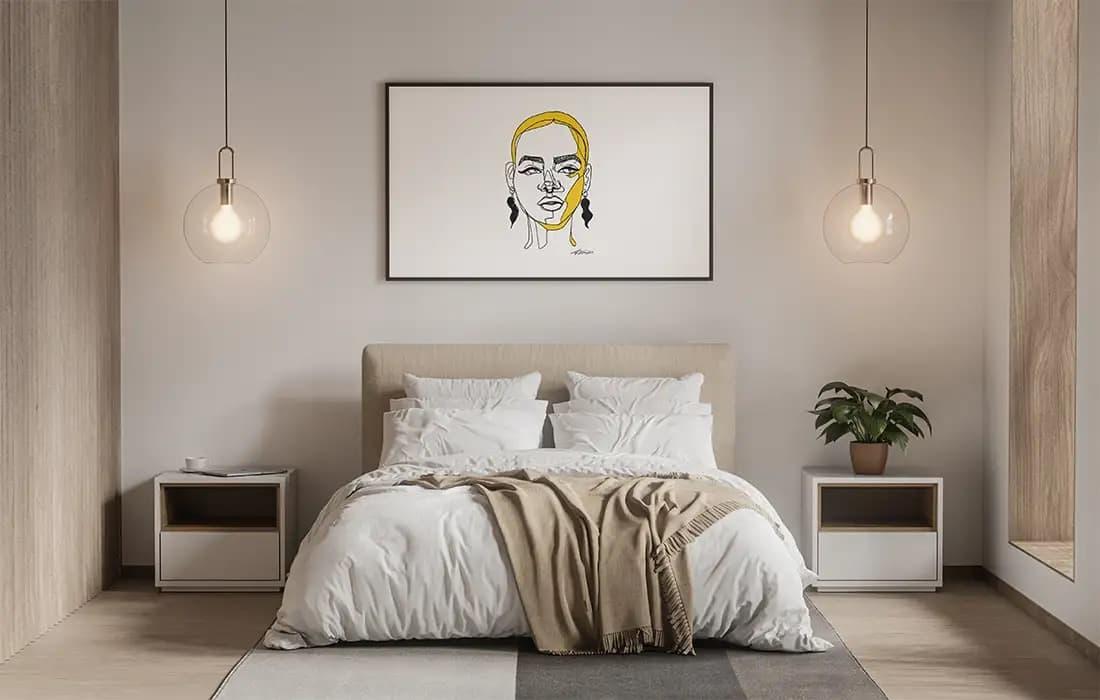 Free Modern Poster Bedroom Scene Mockup