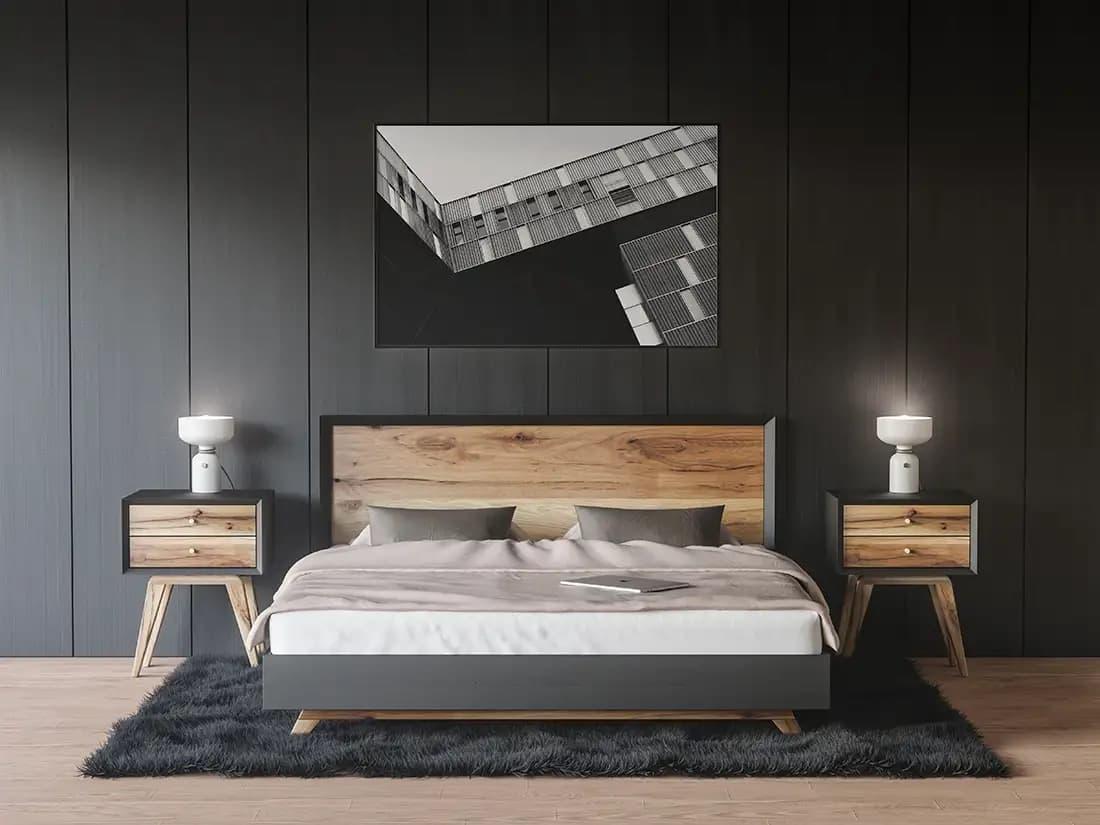 Free Modern Poster Bedroom Scene PSD Mockup