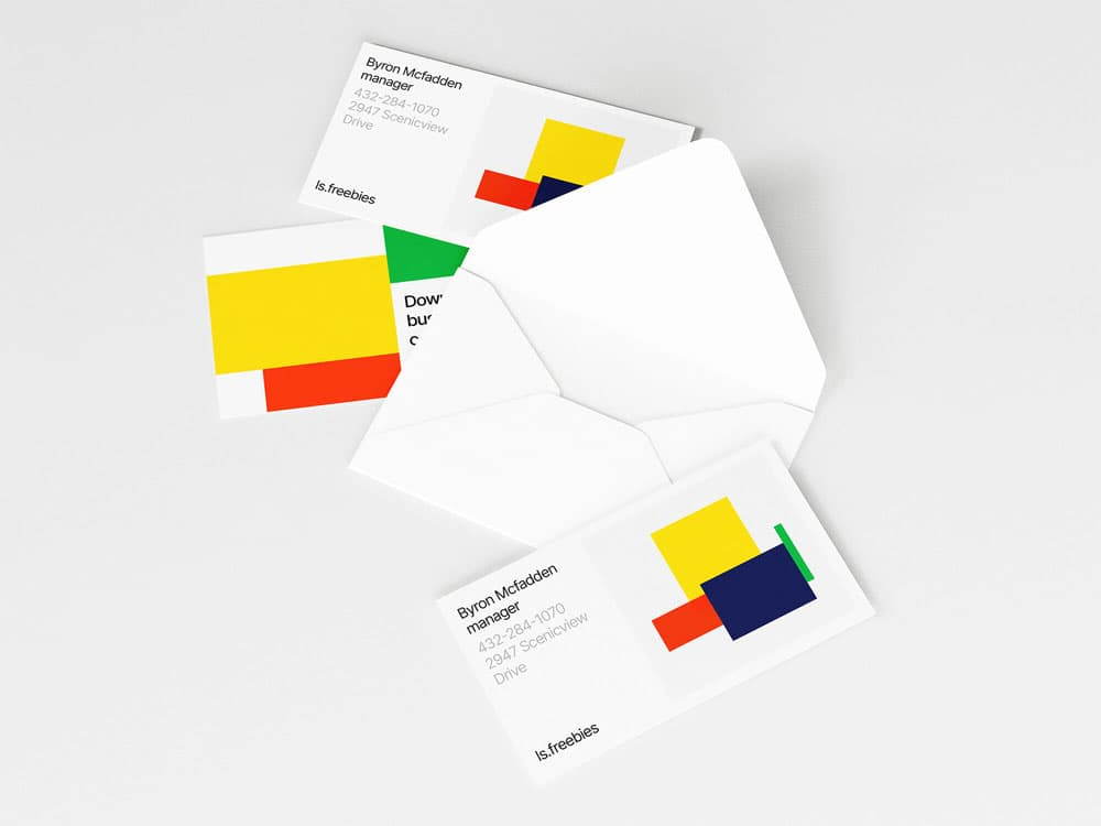 Free Opened Envelope and Business Card Mockup