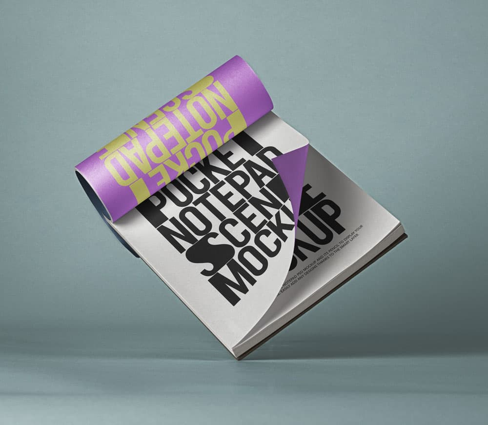 Free Pocket Notepad PSD Mockup Scene