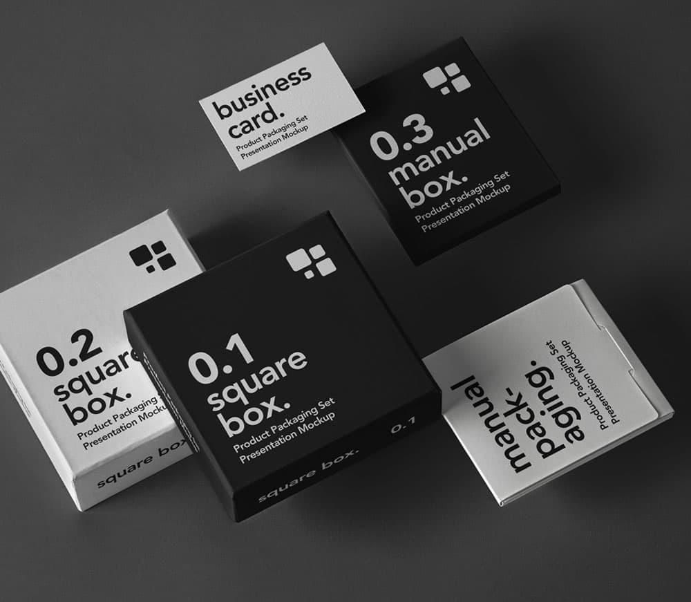 Free Product Box Packaging PSD Mockup
