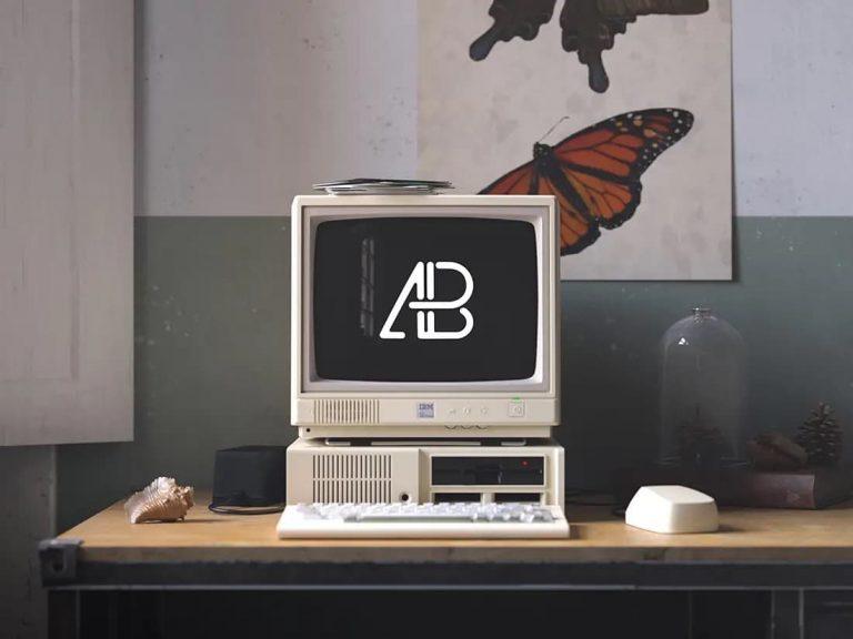 Free Retro IBM Desktop Computer PSD Mockup