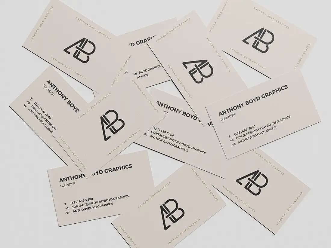 Free Scattered Business Card PSD Mockup