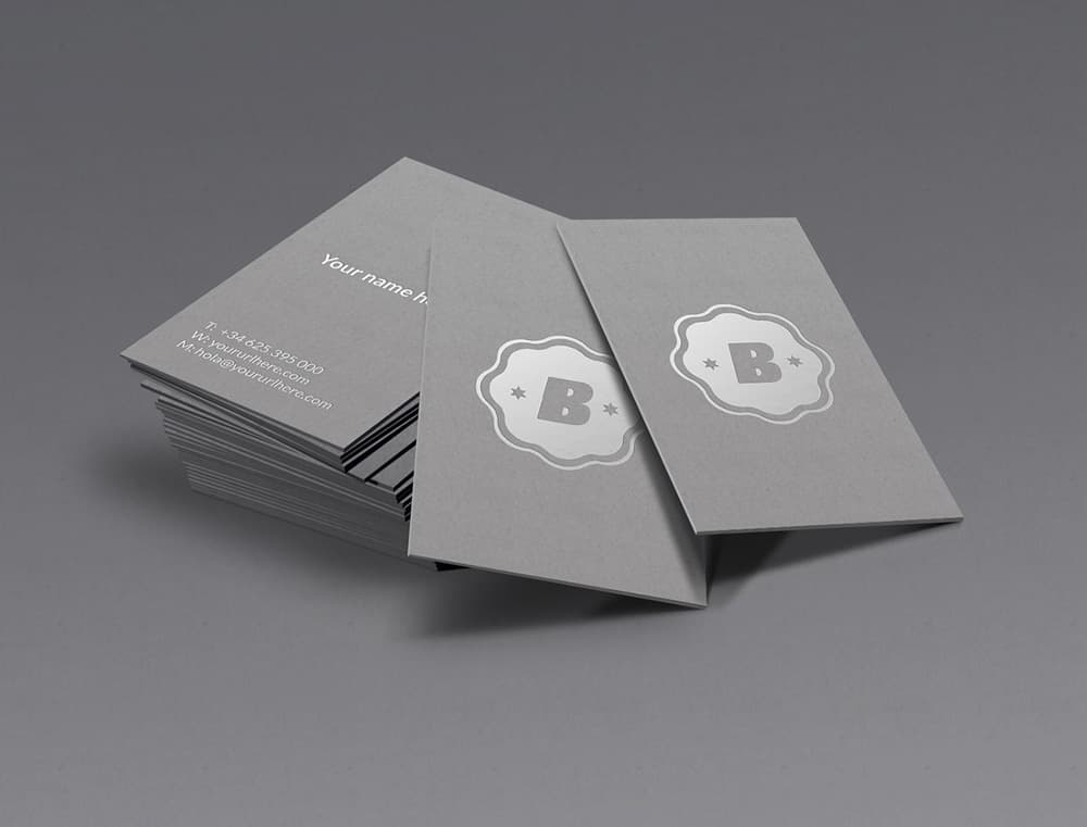 Free Silver Business Card PSD Mockup