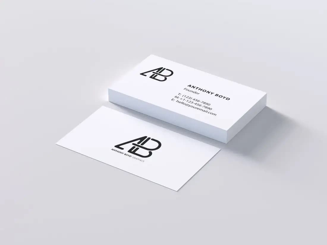 Free Simple Business Card Mockup