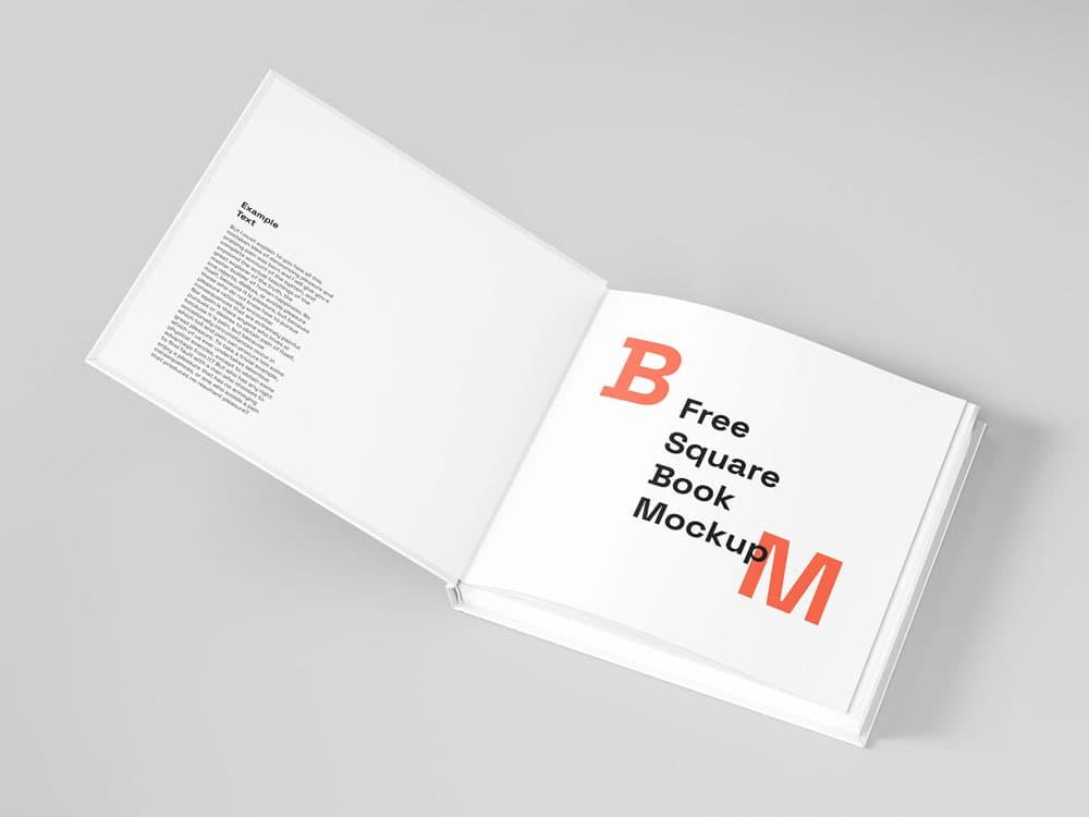 Free Square Hard Cover Book PSD Mockup