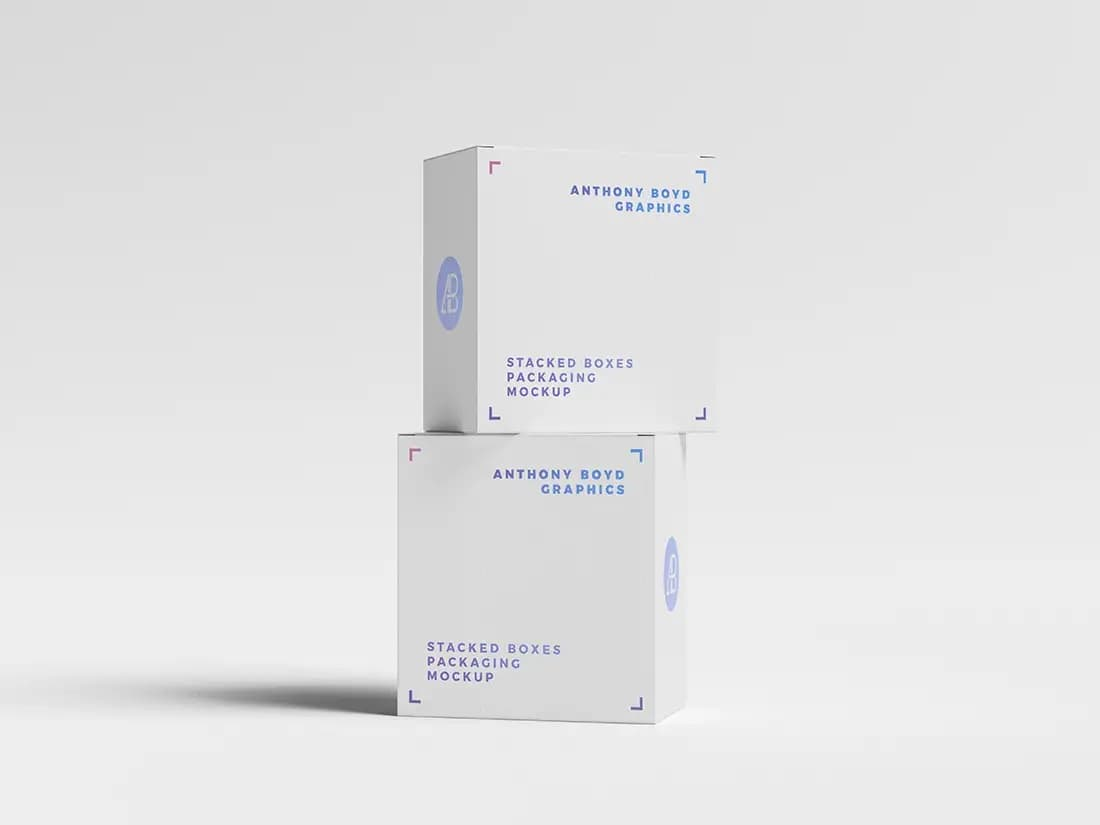Free Stacked Boxes Packaging PSD Mockup