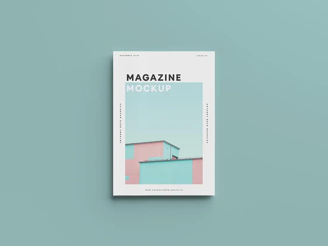 Free Top View Magazine PSD Mockup