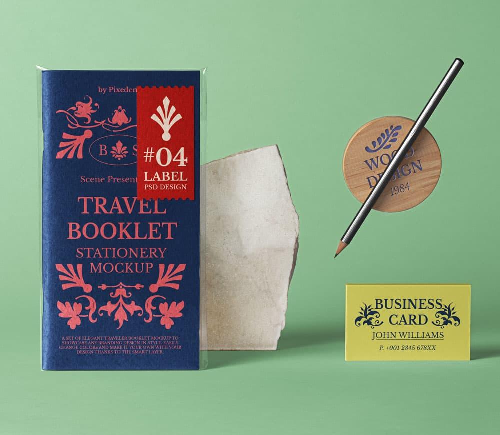 Free Travel Booklet PSD Mockup Scene