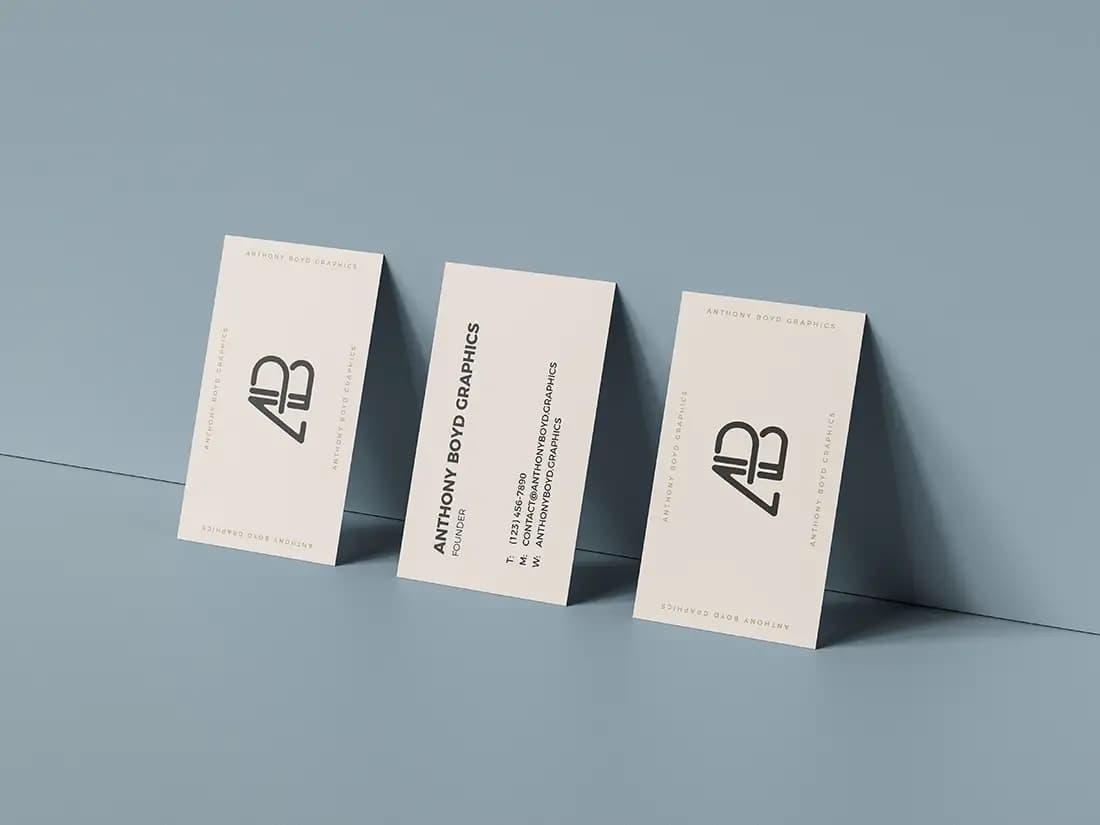 Free Triple Business Card PSD Mockup