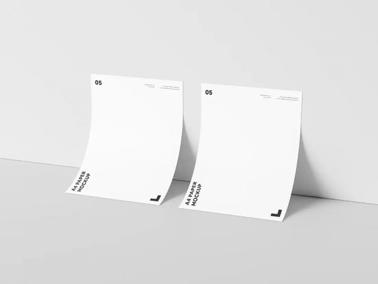 Free Two A4 Paper PSD Mockup