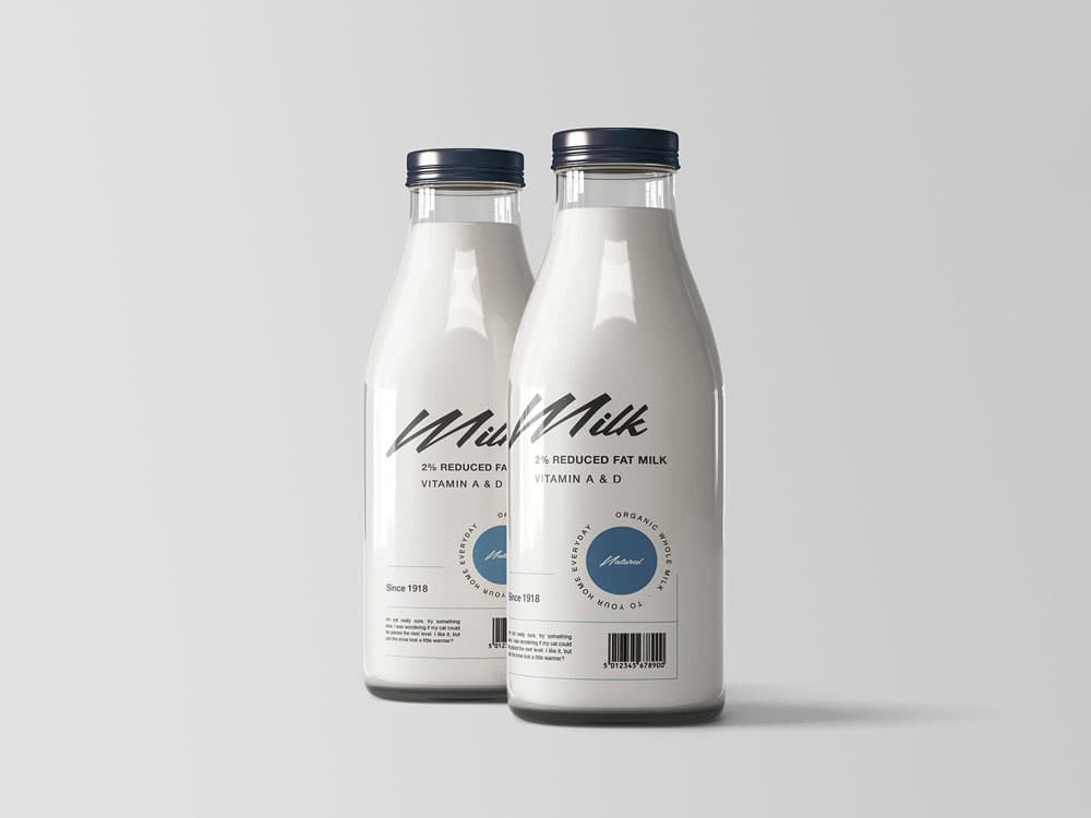 Free Two Milk Bottles PSD Mockup
