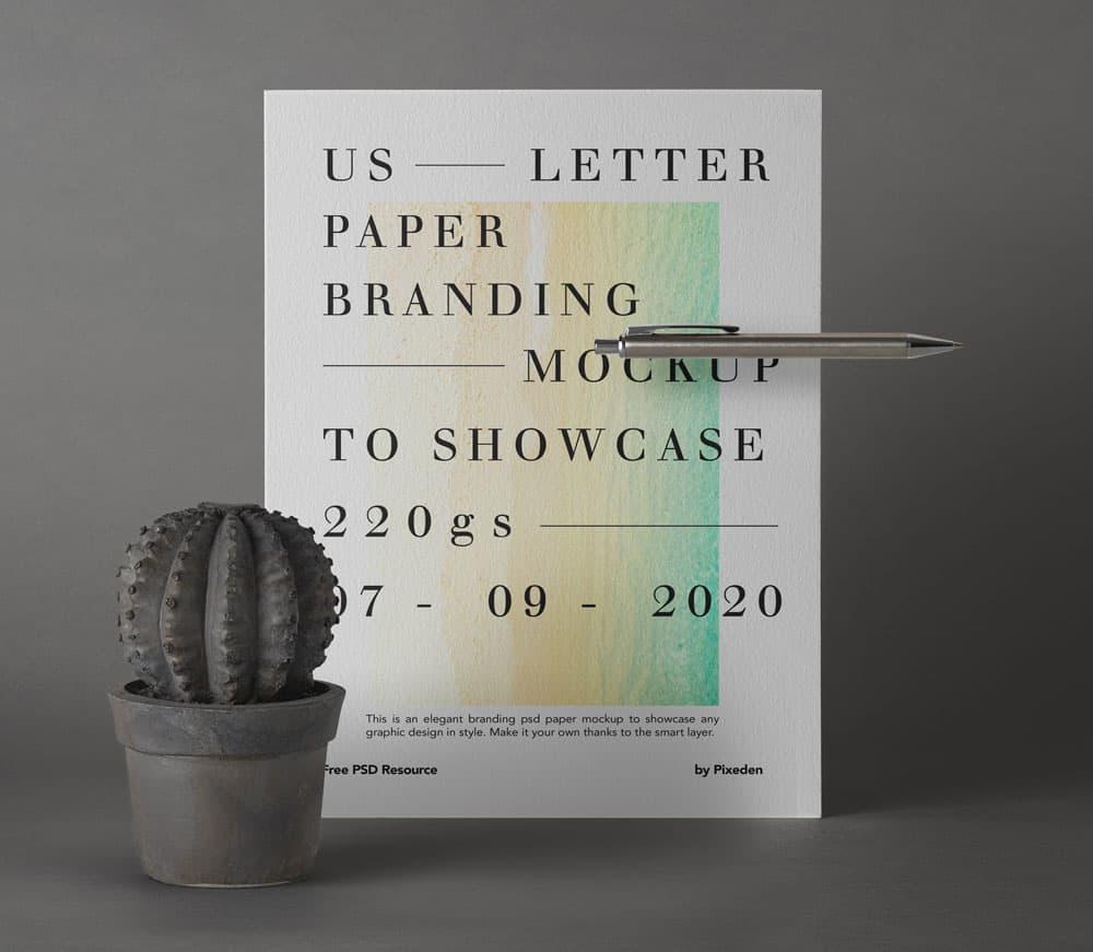 Free US Letter Branding Scene PSD Mockup