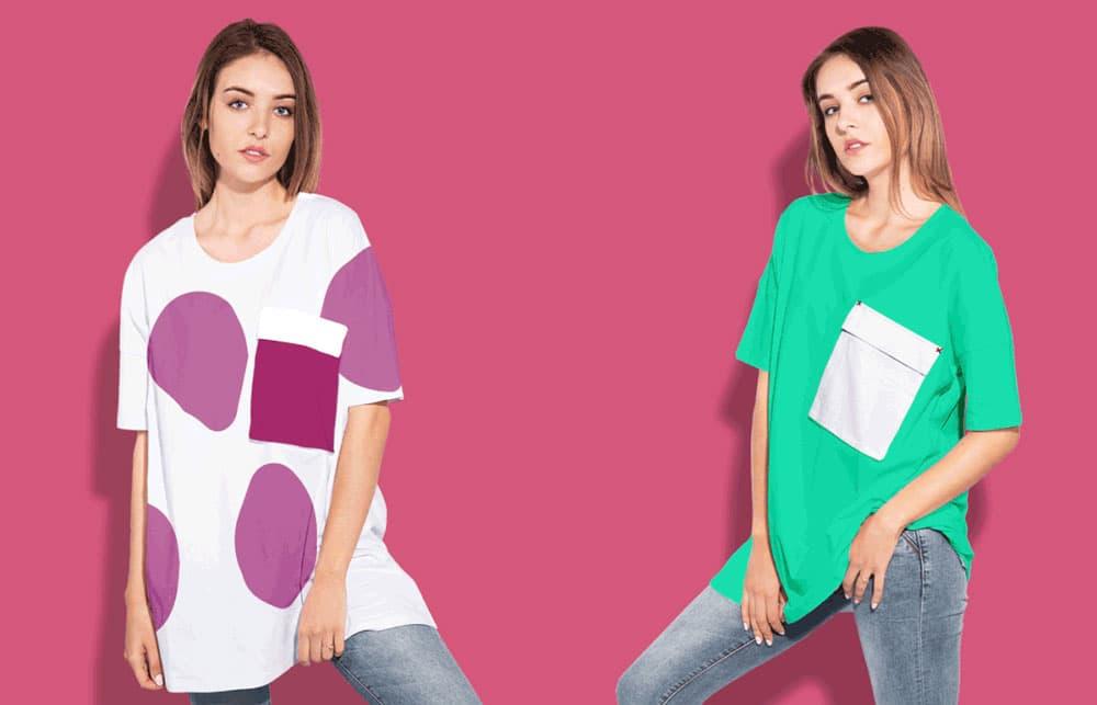 Free Woman Oversize T-Shirt PSD Mockup