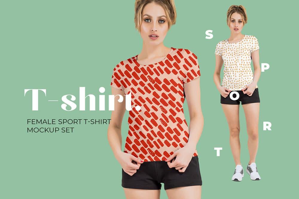 Free Women Sport T-Shirt PSD Mockup