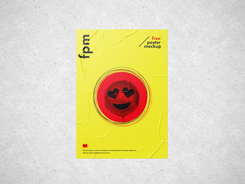 Free Wrinkled Poster PSD Mockup