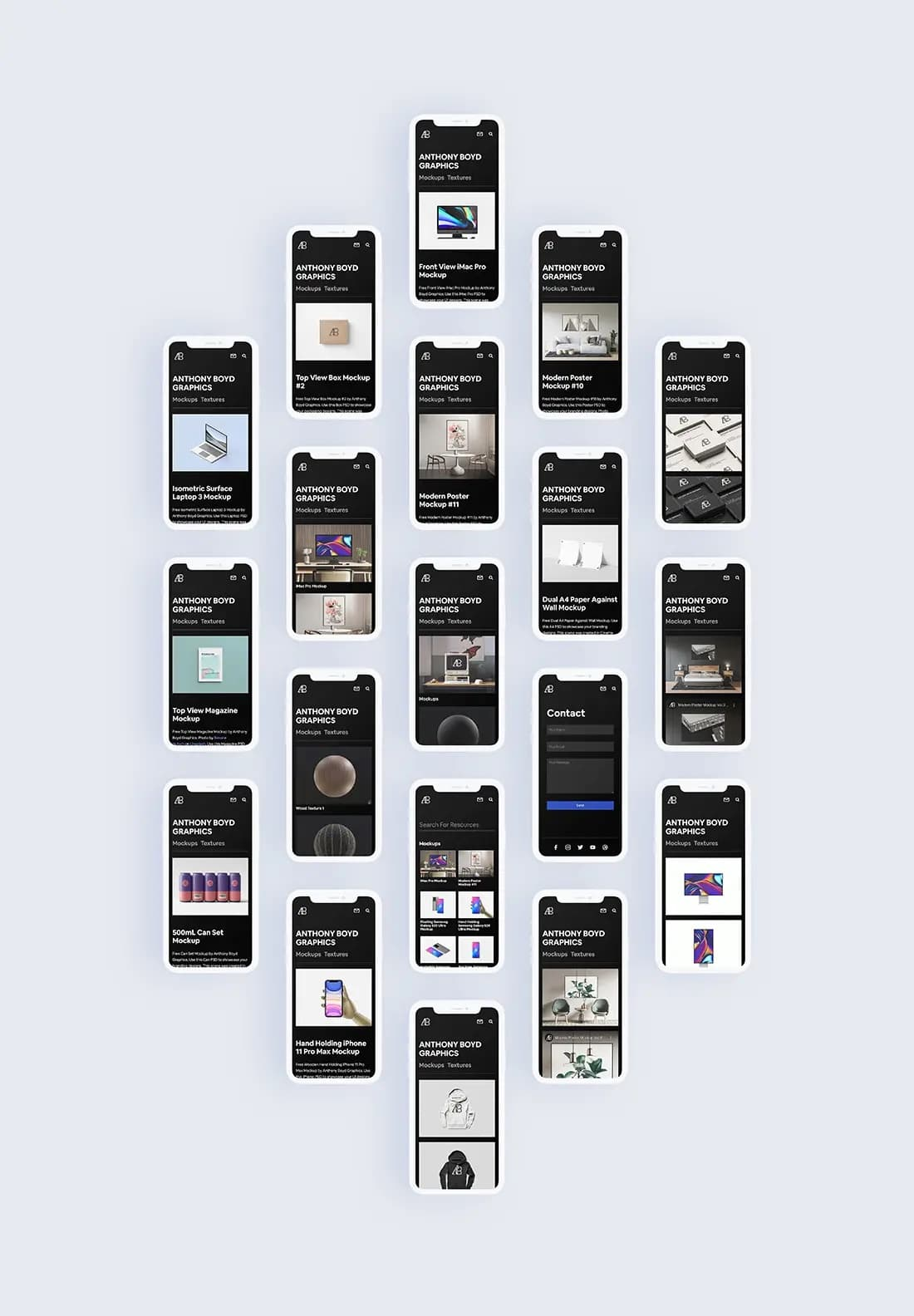 Free iPhone Screen Set PSD Mockup