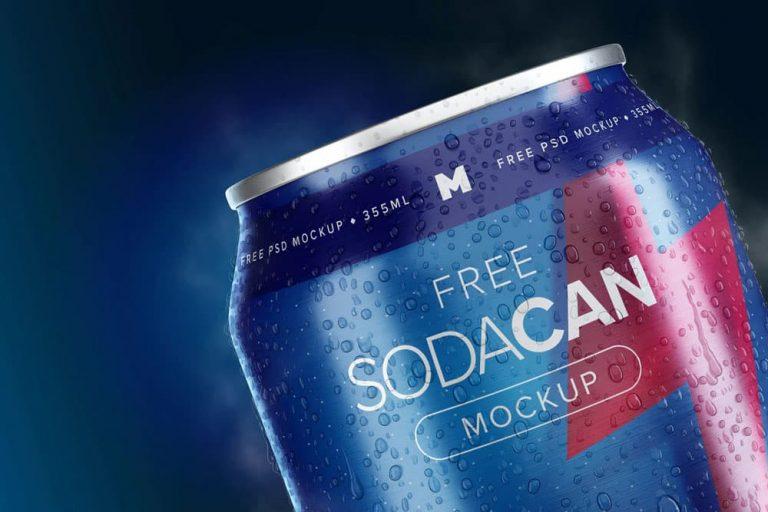 Free 355ml Soda Can PSD Mockup