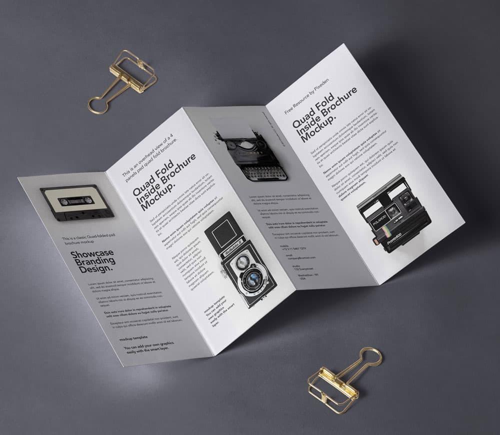 Free 4 Fold Panel Brochure PSD Mockup