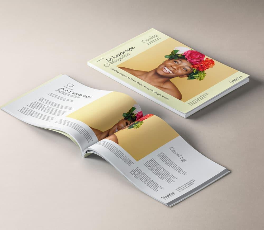 Free A4 Landscape Magazine PSD Mockups