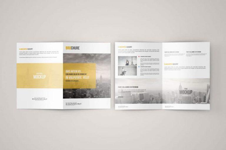 Free A5 Bi-Fold Brochure PSD Mockup
