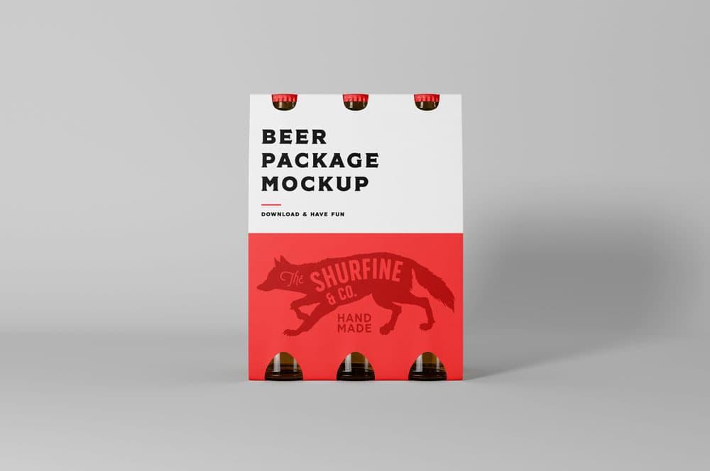Free Beer Package PSD Mockup