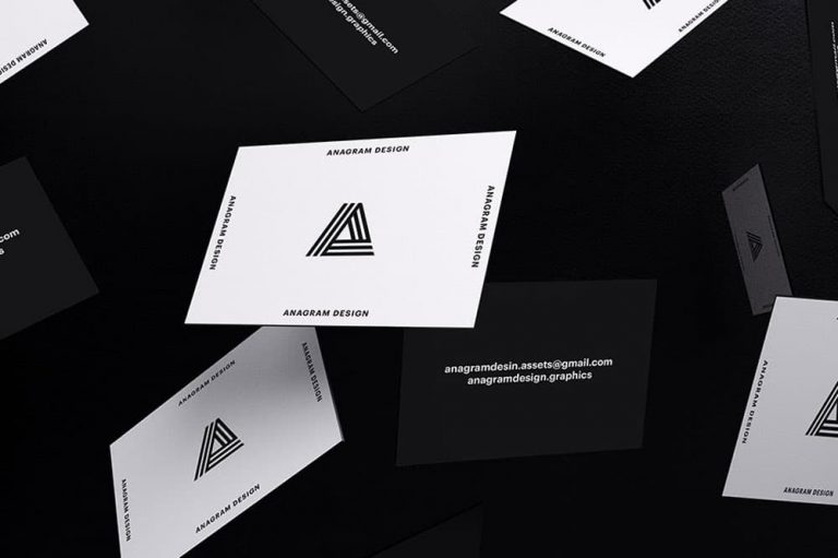 Free Black and White Business Card Mockup